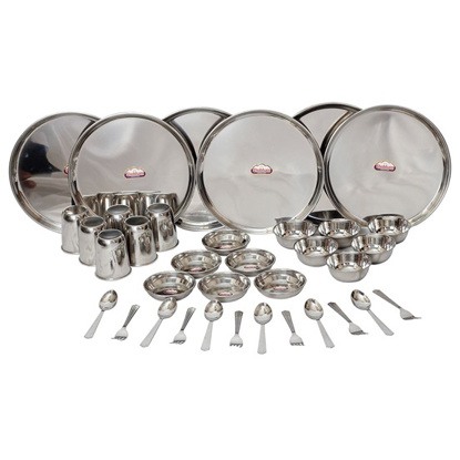 Picture of Shubham Stainless Steel Dinner Set , Set of 36,Silver